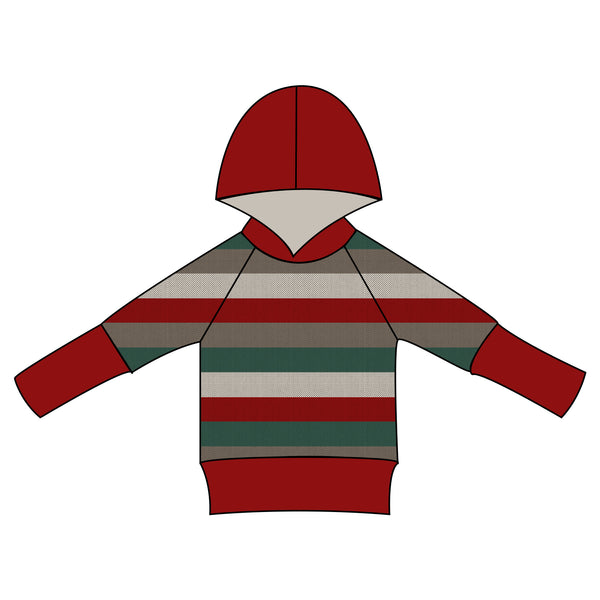 Grow With Me Hoodie - Holiday Stripes