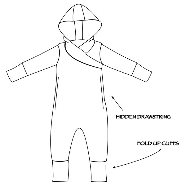 Children's long sleeve romper with hidden draw string, fold up cuffs and a hood