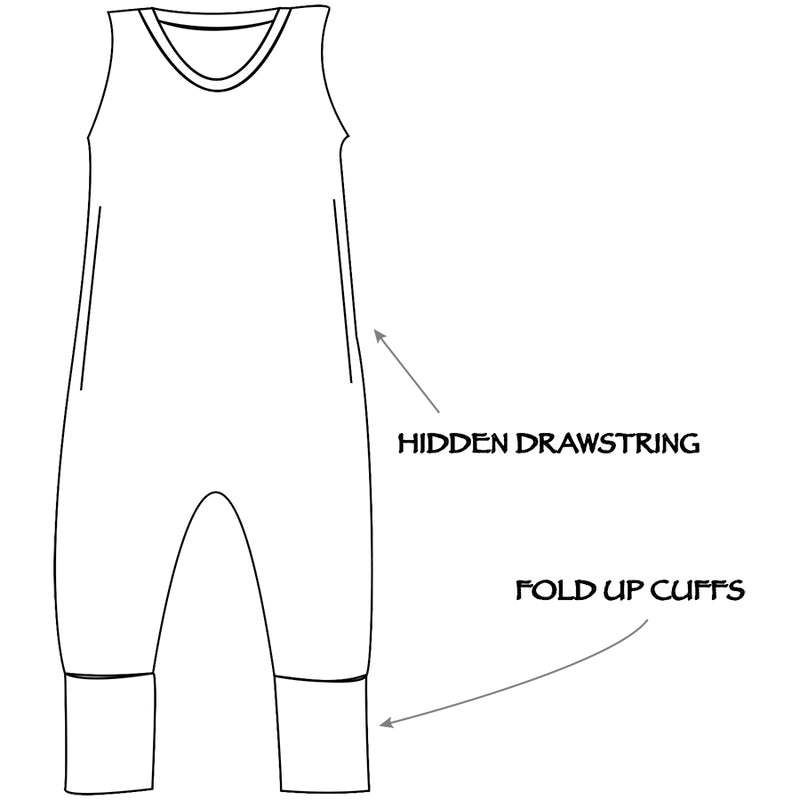 Children's sleeveless romper with hidden draw string and fold up cuffs