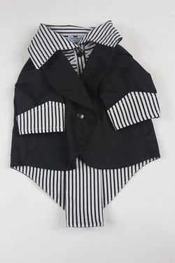 The Black Ruxedo - Black/White Striped Shirt