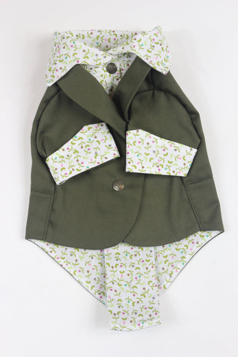 The Khaki Ruxedo - White Floral Shirt