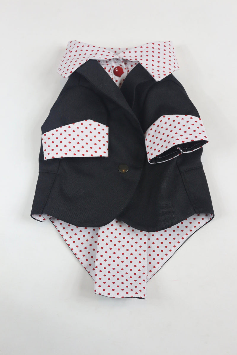 The Black Ruxedo - Red Polka Dot Shirt