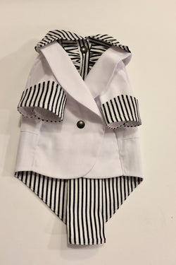 The White Ruxedo - Black/White Striped Shirt - Ruff Stitched