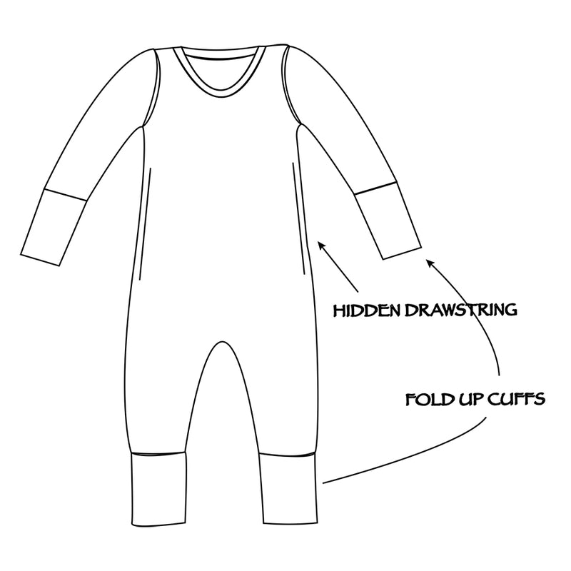 Children's long sleeve romper with hidden draw string and fold up cuffs