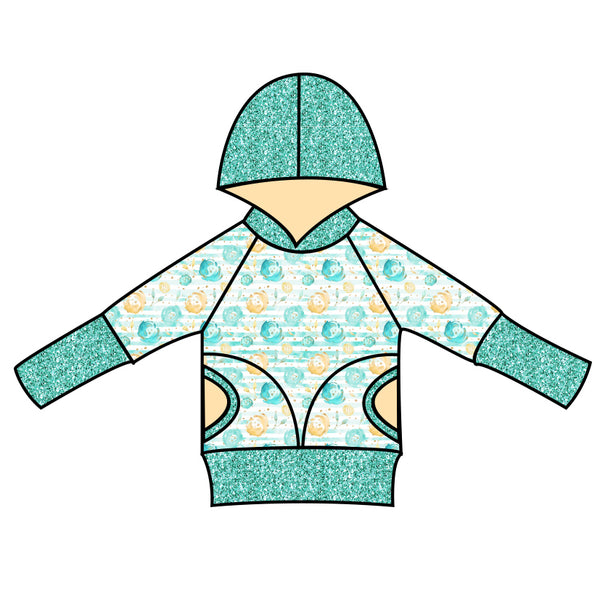 Grow With Me Hoodie Mint and Gold Floral