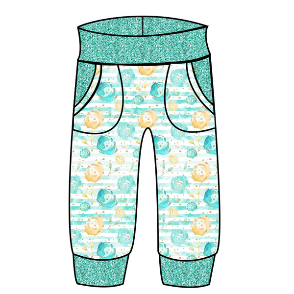 Grow With Me Joggers Mint and Gold Floral - Ruff Stitched