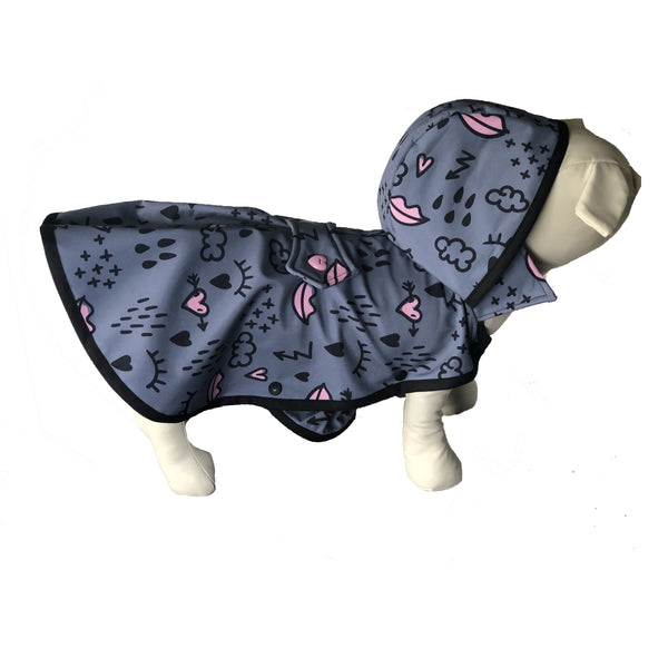 Pink Lips Raincoat - Water Resistant - Ruff Stitched