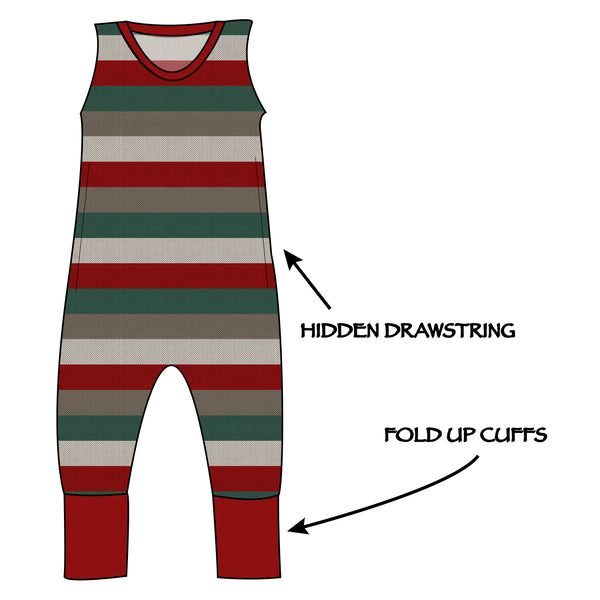 Grow with me Romper - Holiday Stripes