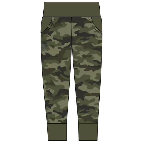 Adult green camouflage joggers with yoga waistband and green trim