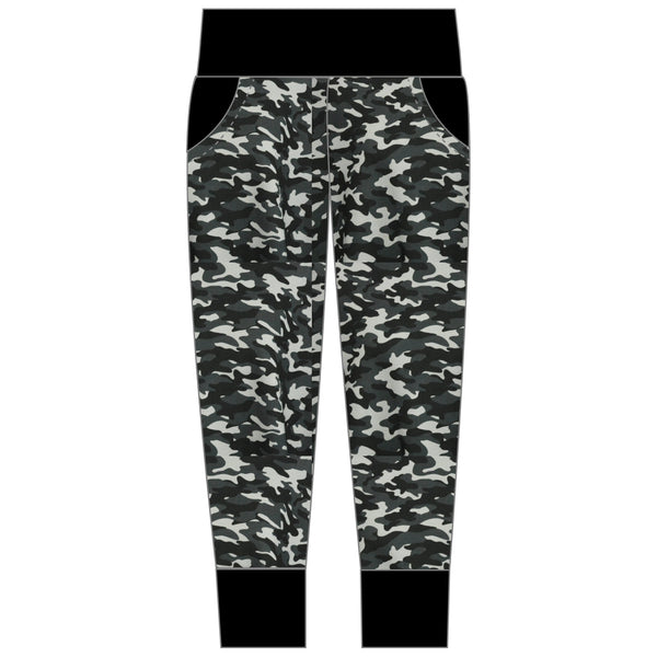 Adult black camouflage joggers with yoga waistband and black trim