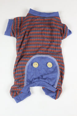 Lounge Around Onesie - Striped Blue Trim - Ruff Stitched