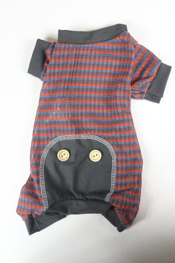 Lounge Around Onesie - Striped Grey Trim - Ruff Stitched