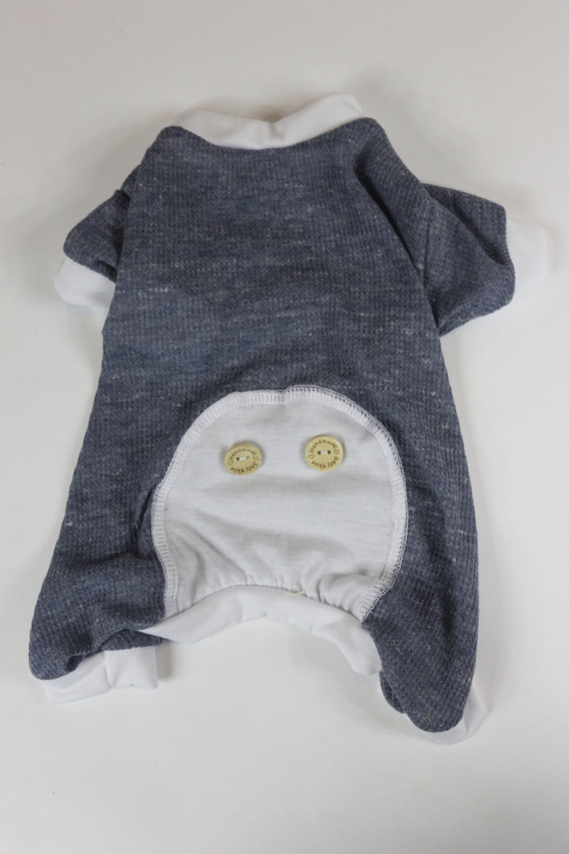 Lounge Around Onesie - Grey Waffle Knit - Ruff Stitched