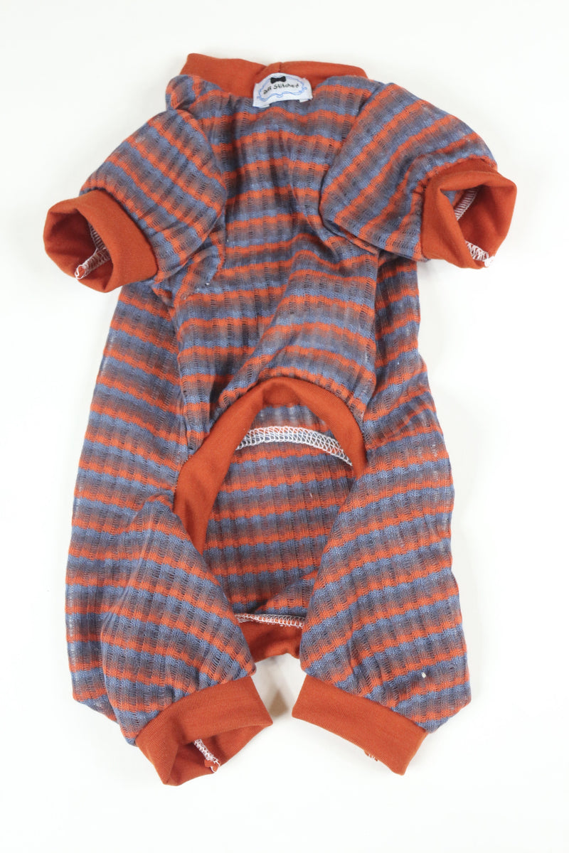 Lounge Around Onesie - Striped Red Trim - Ruff Stitched