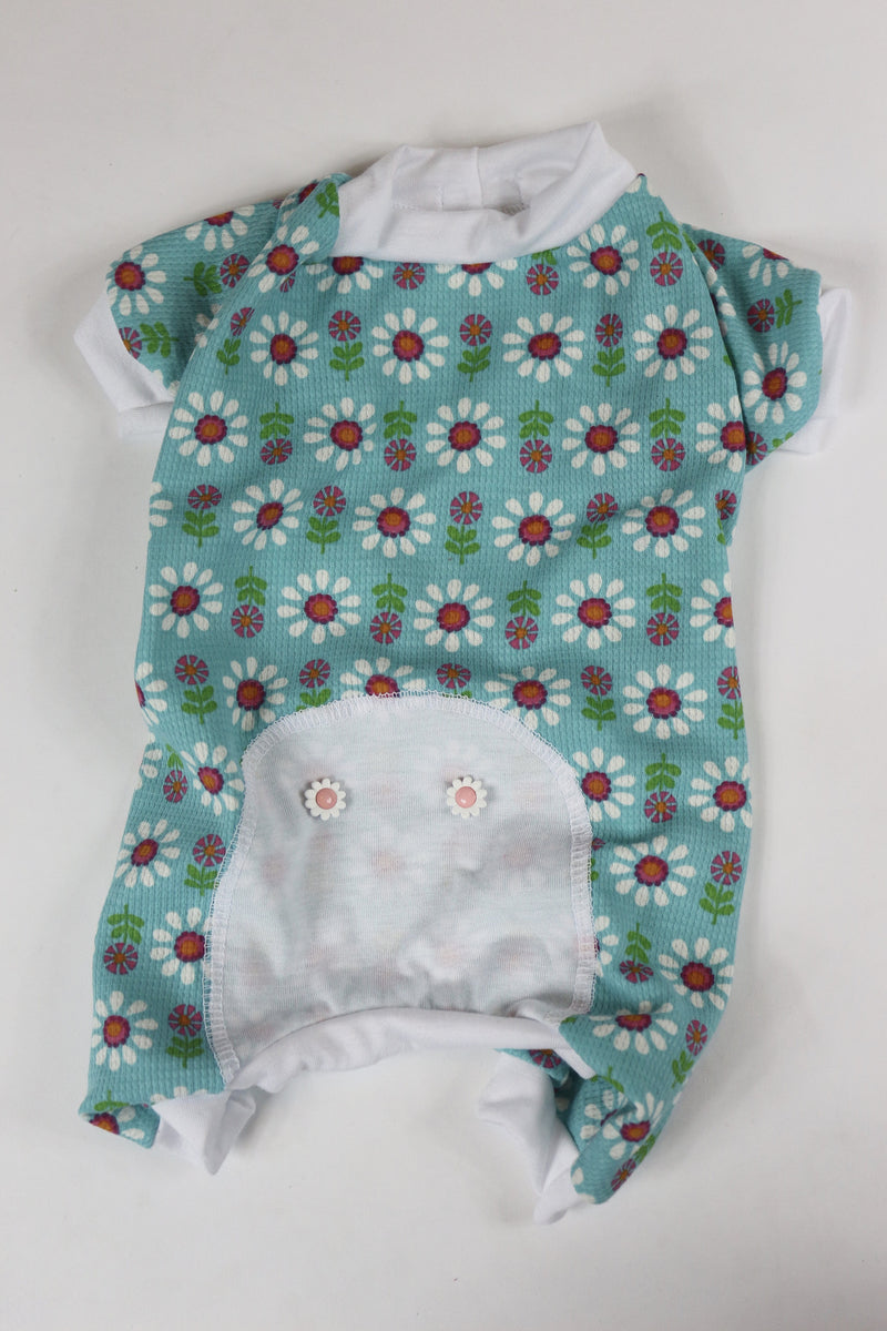 Lounge Around Onesie - Aqua Floral - Ruff Stitched