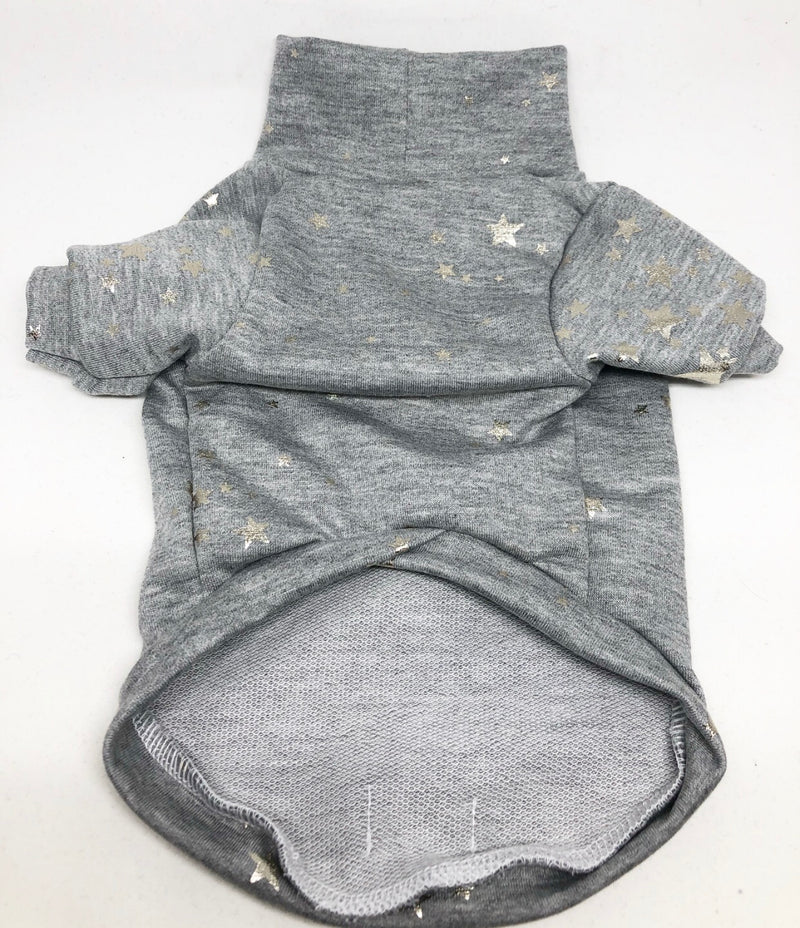 High Neck Jersey Shirt - Silver Foil Stars on Grey
