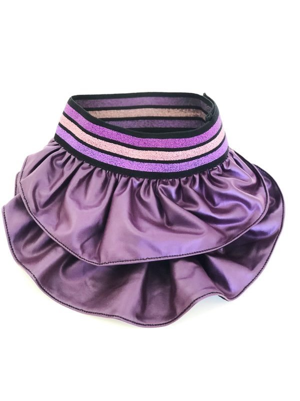 Electric Purple Faux Leather Skirt - Ruff Stitched