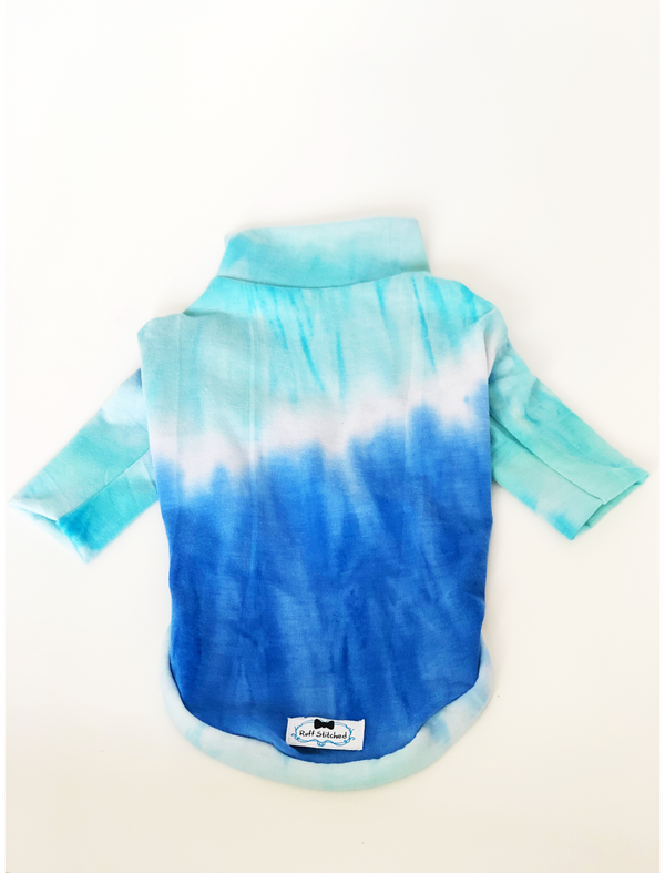 High Neck Jersey Shirt - Sky Tye Dye