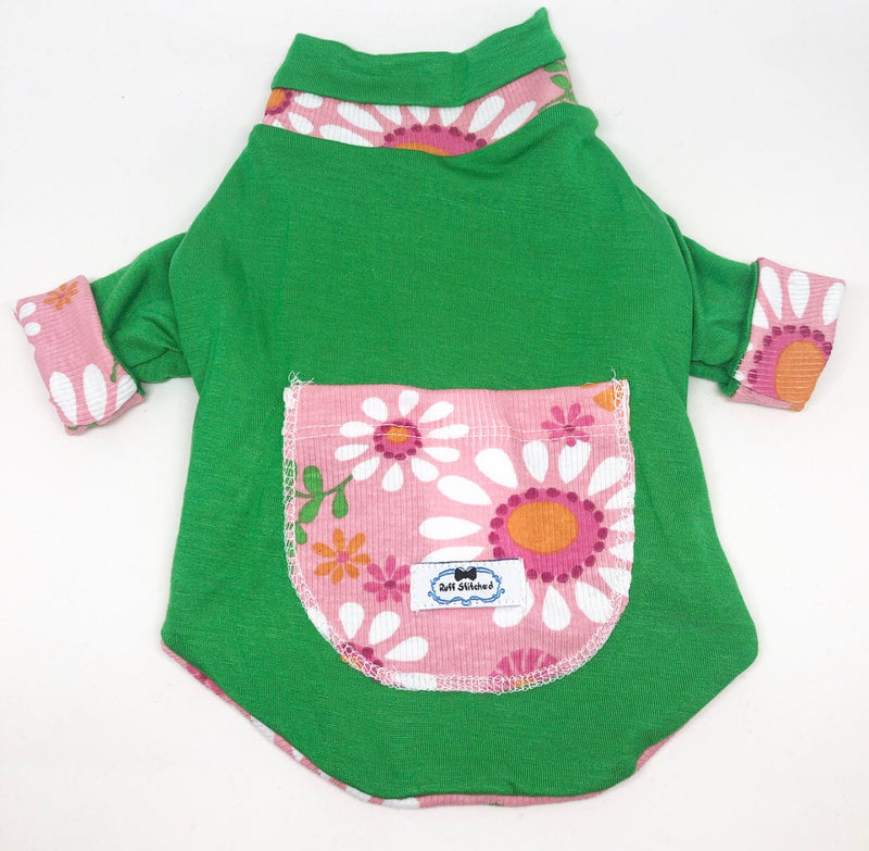 Reversible Green Floral - Ruff Stitched