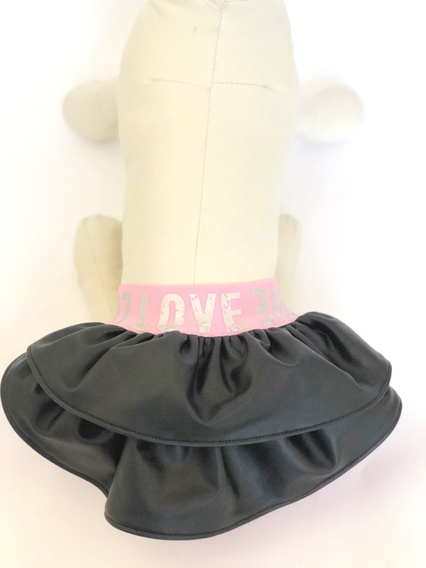 Dog Skirt, Dog Dress, Black Faux Leather, Pink Love Elastic Waistband