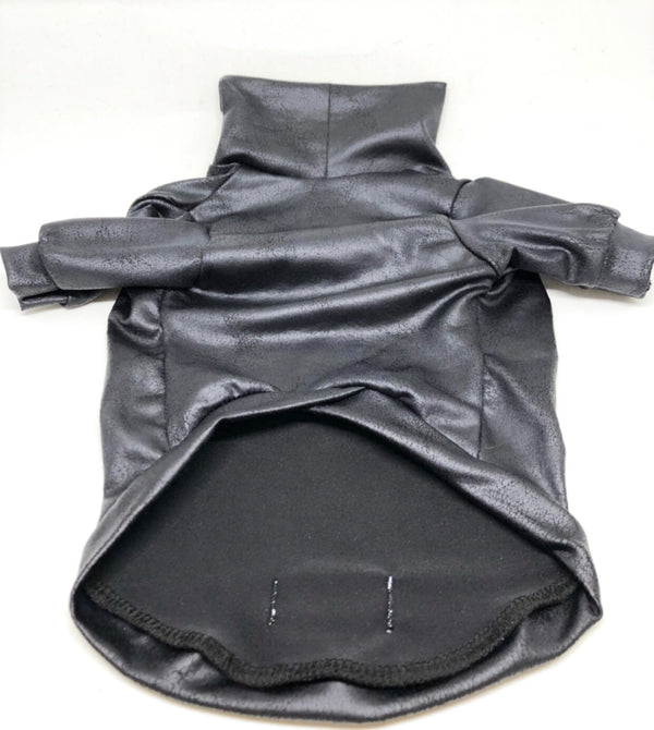 Black Faux Leather - Ruff Stitched