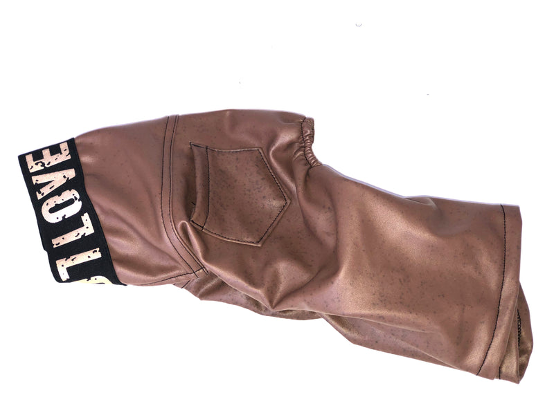 Brown Faux Leather Pants - Ruff Stitched