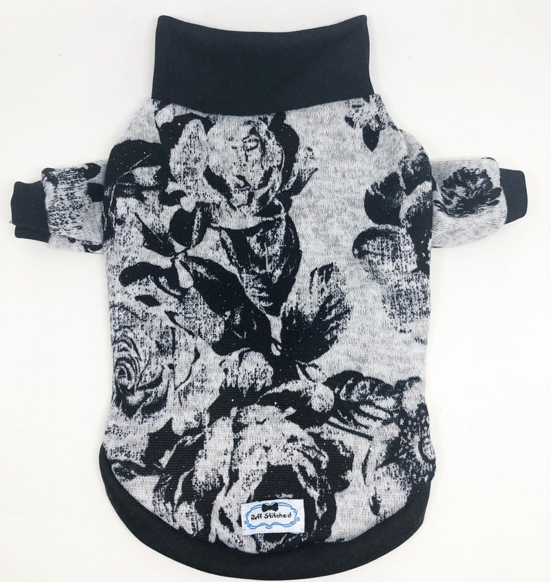 High Neck Jersey Shirt - Fairy Dusted Black Roses
