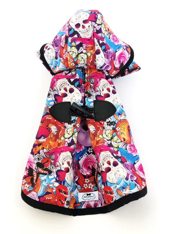 Sugar Skulls Raincoat - Water Resistant - Ruff Stitched