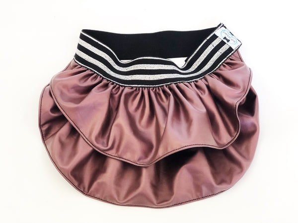 Dusty Rose Faux Leather Skirt - Ruff Stitched