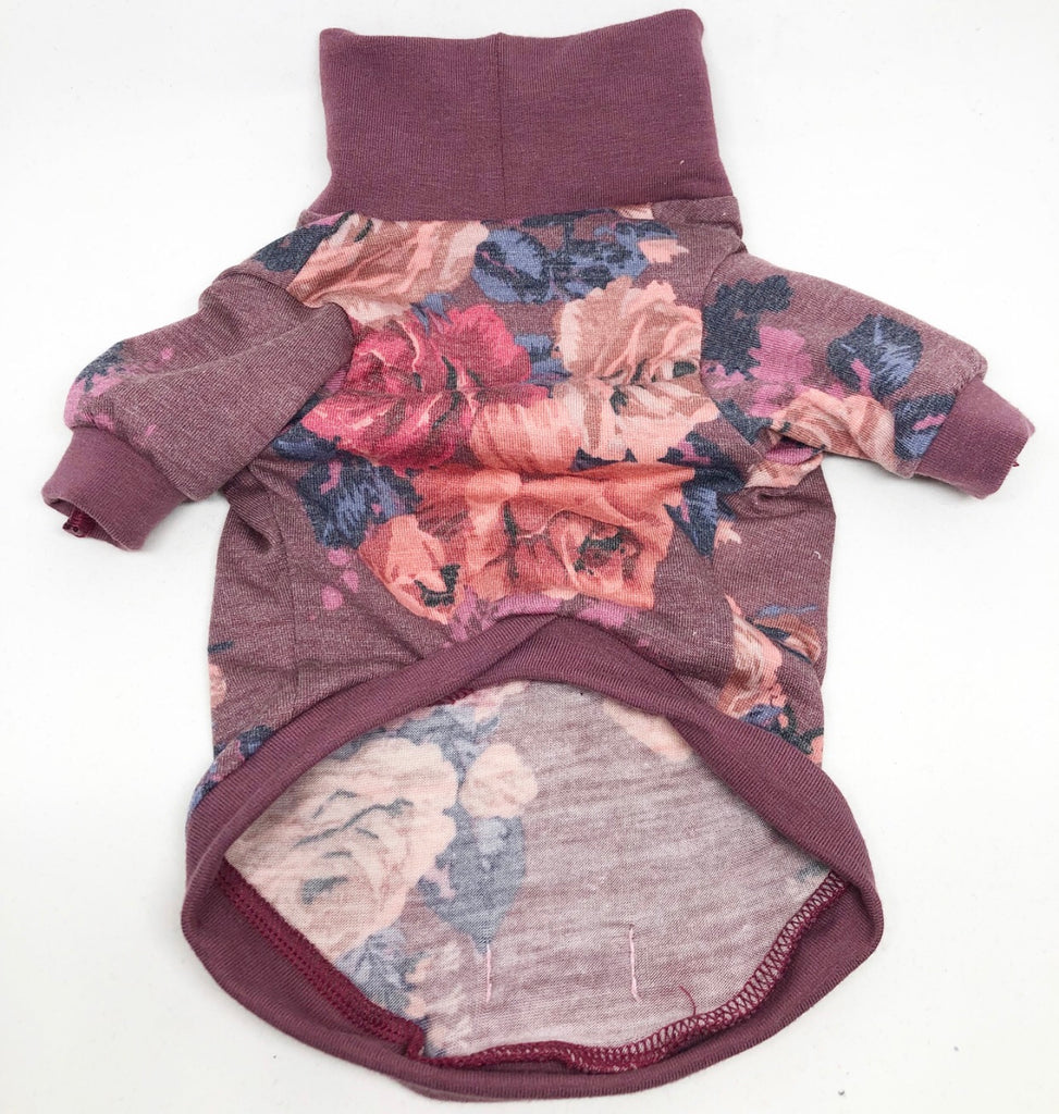 High Neck Jersey Shirt - Mauve About Flowers