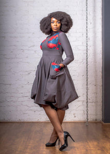 URBAN ZULU: Langa Grey Dress - URBAN ZULU