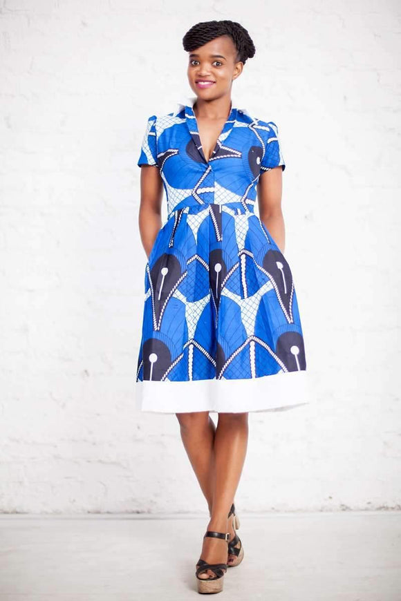 Portia Blue and White Dress