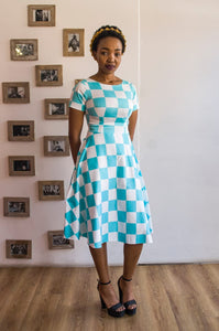 Ndabakazi Blue&White Short Dress
