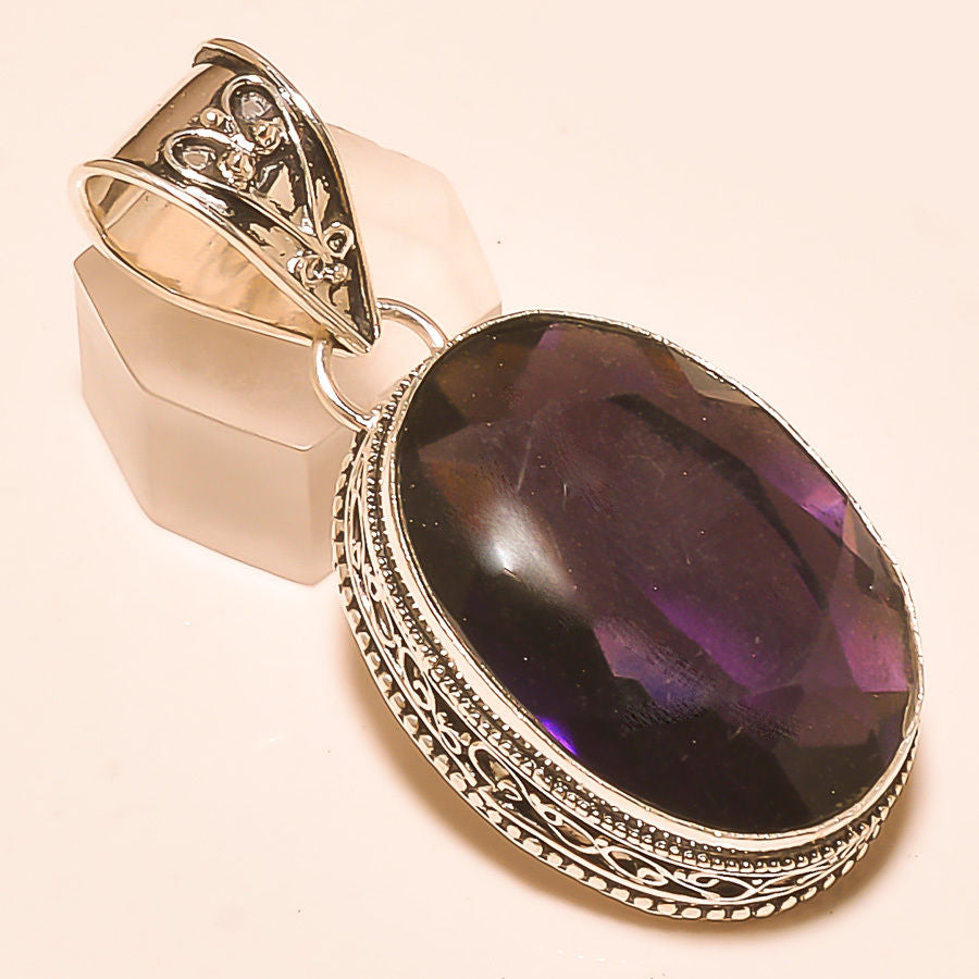 Amethyst, Sterling Silver Vintage Style Pendant