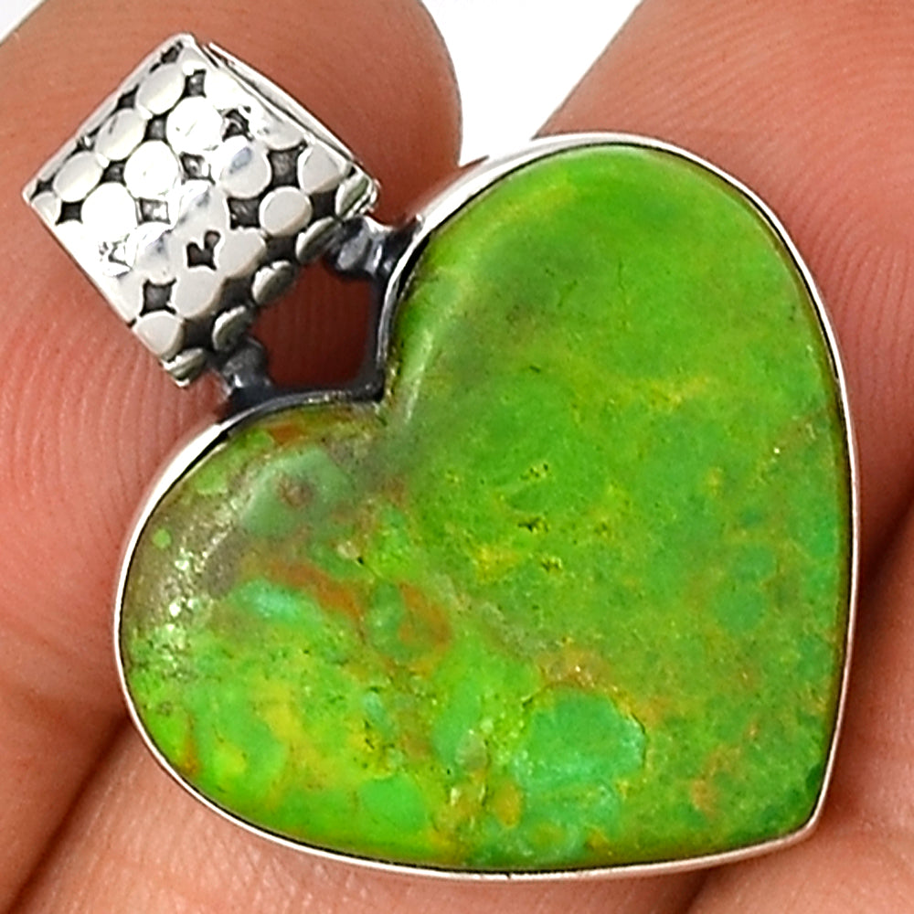 Turquoise Copper Green Mohave Spring Hope Heart 925 Sterling Silver Pendant 1.25