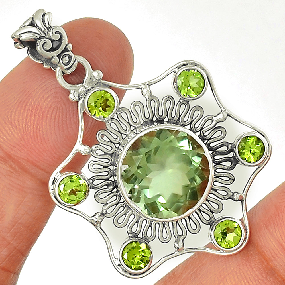 Green Amethyst & Peridot - Love and Gratitude 925 Sterling Silver 1 7/8""