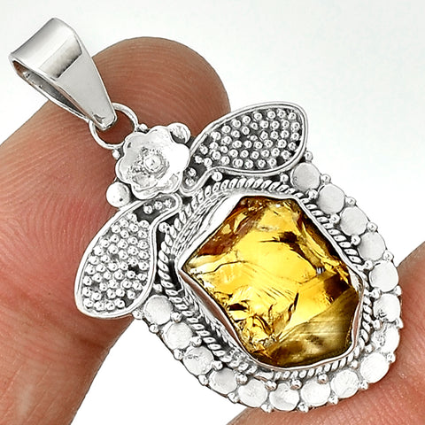 Bee Successful - Citrine Rough 925 Sterling Silver Pendant 1.5""