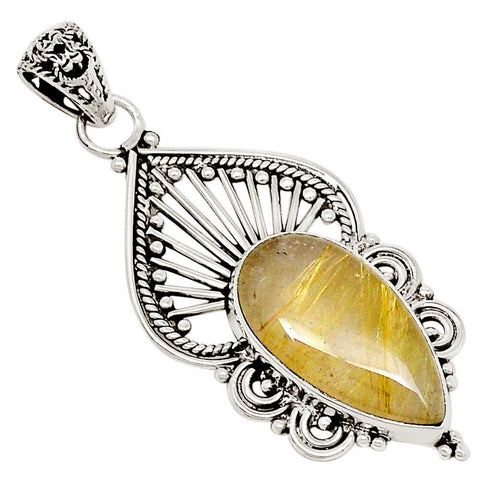 Connection to Divine, Golden Rutile .925 Sterling Silver Pendant