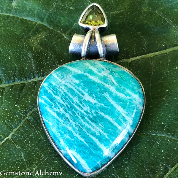 Gentle Power Amazonite, Peridot Sterling Pendant