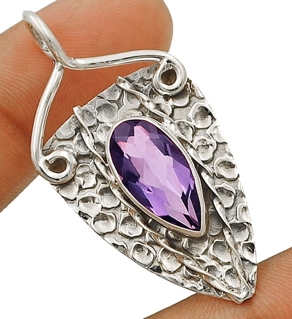 Ally in Chaotic Times - Amethyst Hammered Sterling Silver Pendant