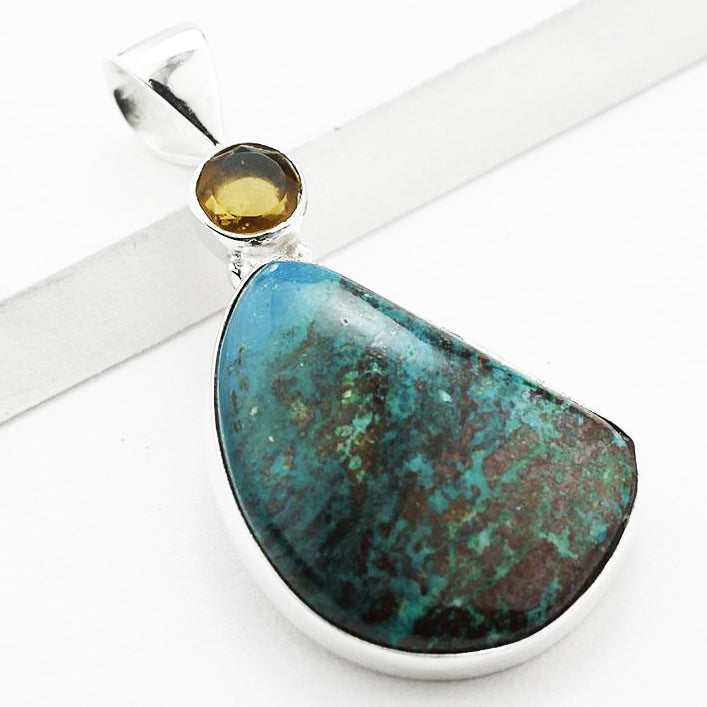 Chrysocolla, Citrine and Sterling Silver Pendant 1.75
