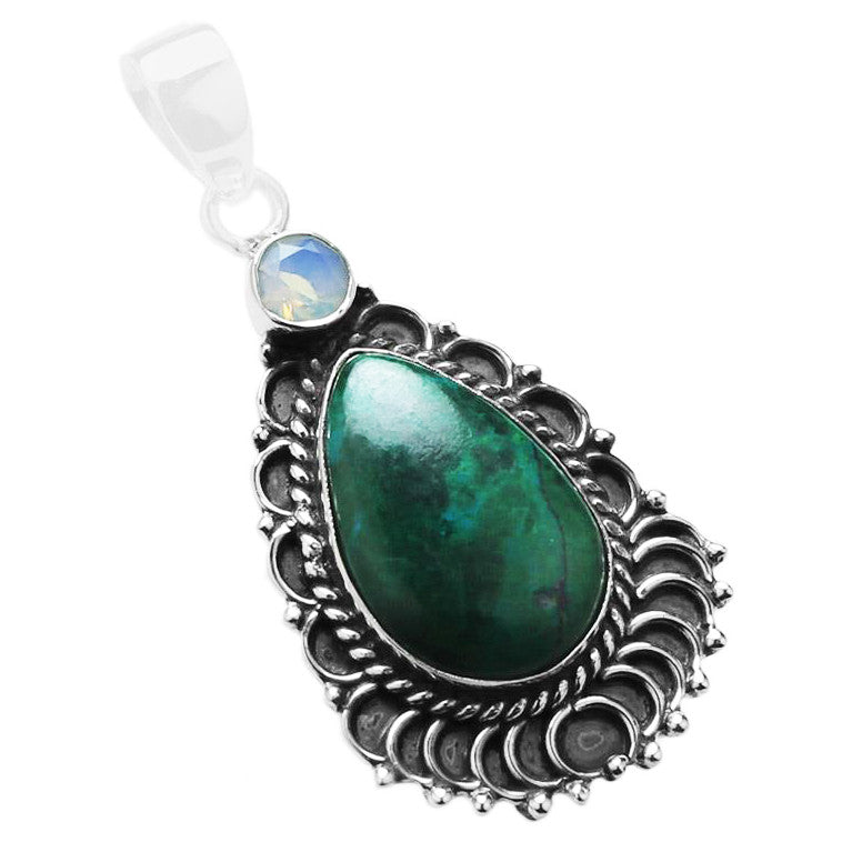 Sacred Communication - Chrysocolla, Opalite, Sterling Silver Pendant 1.8""