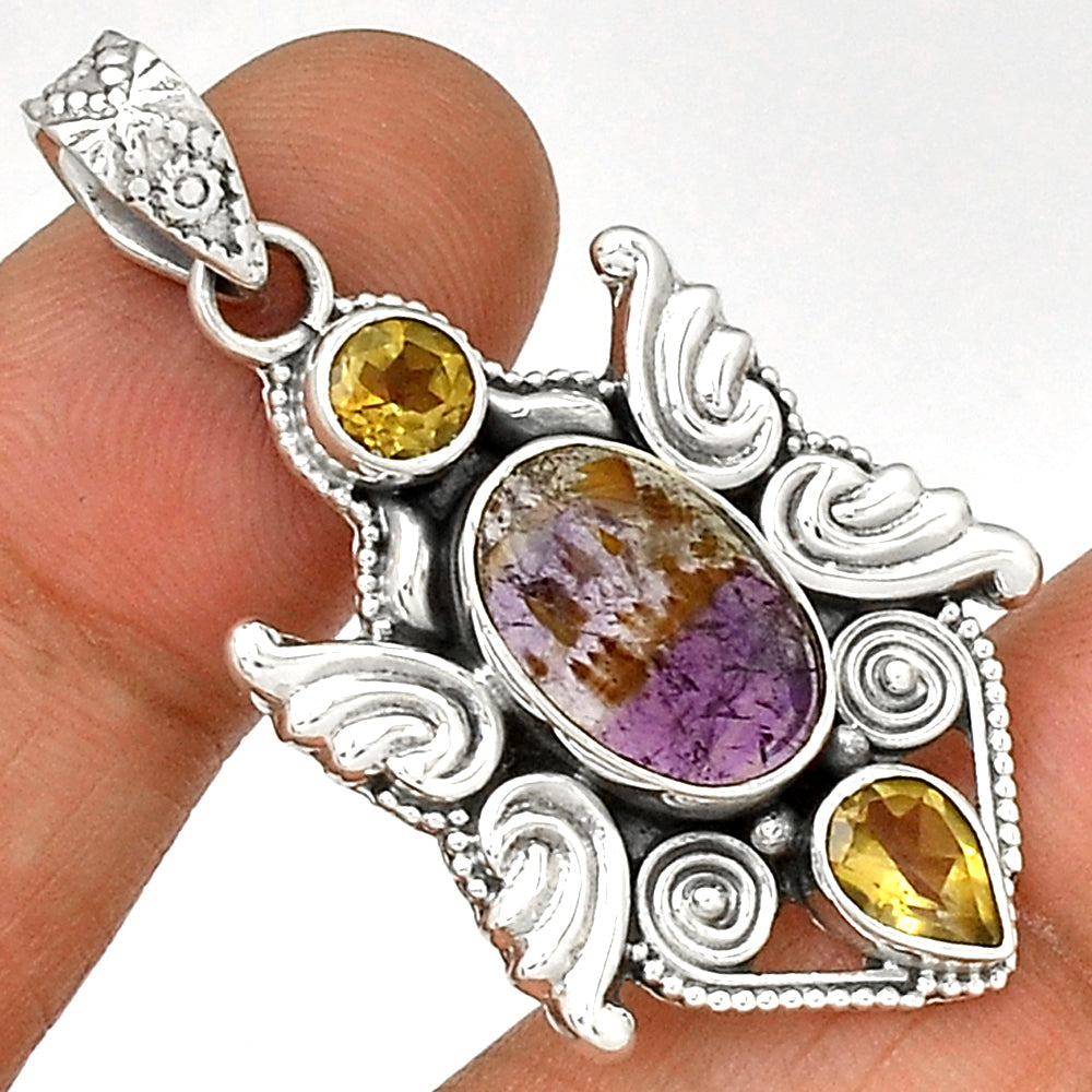 Melody Super 7, Citrine, Sterling Silver Pendant