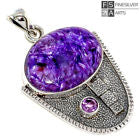 Power of Transformation - Charoite , Amethyst Sterling Pendant