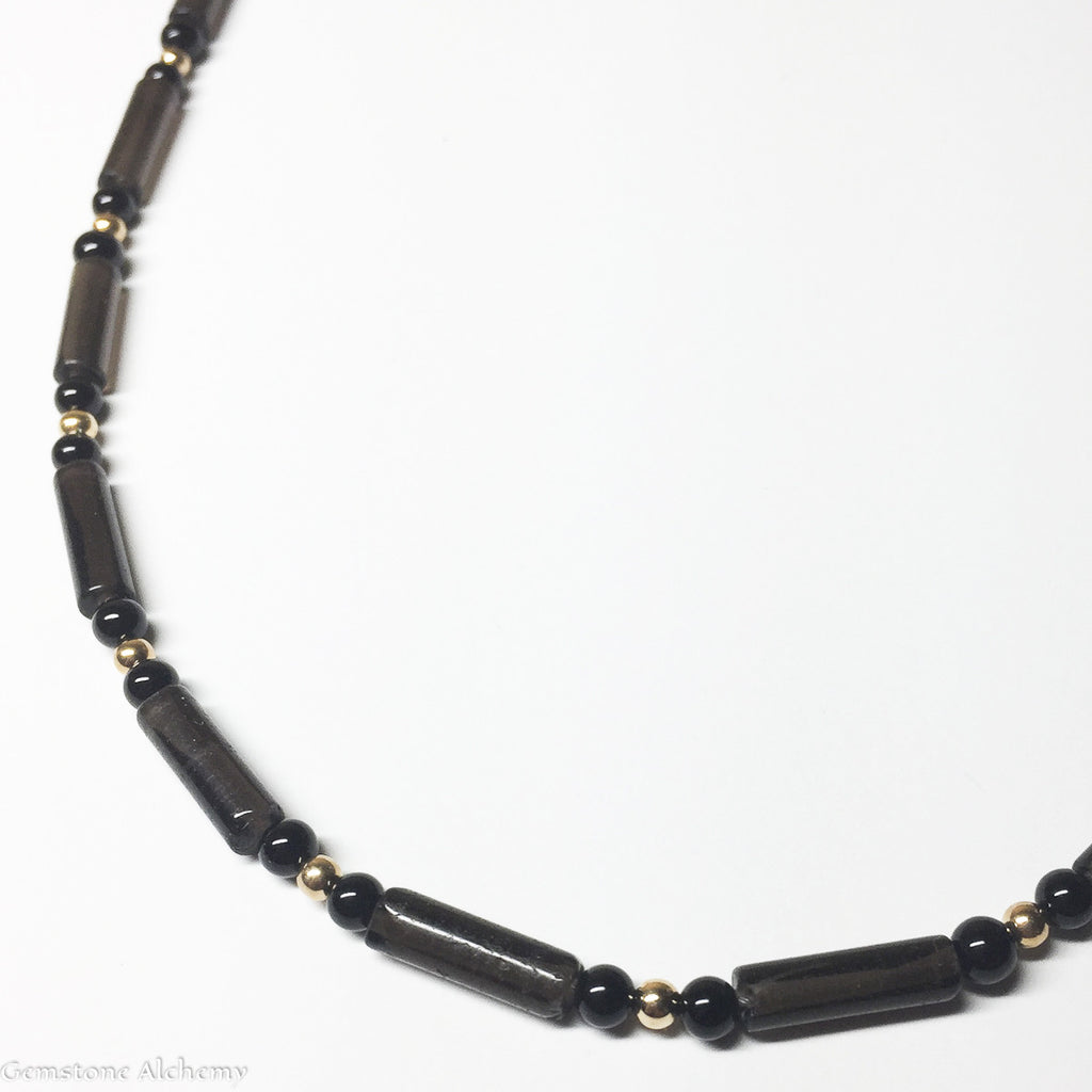 Focused Manifestation Dark Smoky Tubes Beaded Chain in Gold