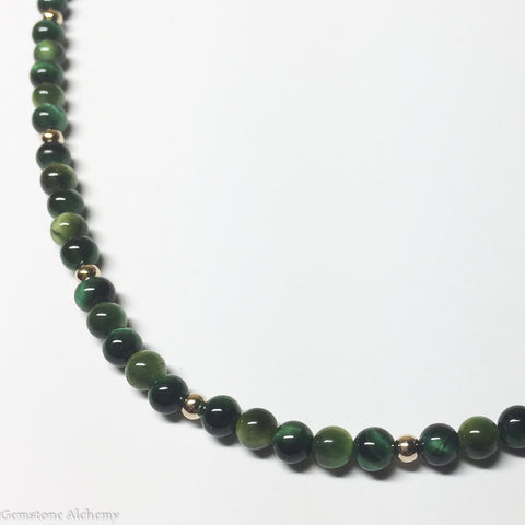 Healing and Balance Beaded Chain -Dark Green Tiger Eye in Gold or Sterling