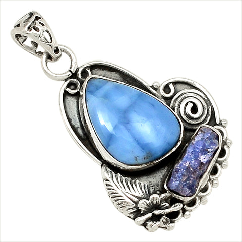 Insight from Heart - Owyhee Opal, Tanzanite .925 sterling Pendant