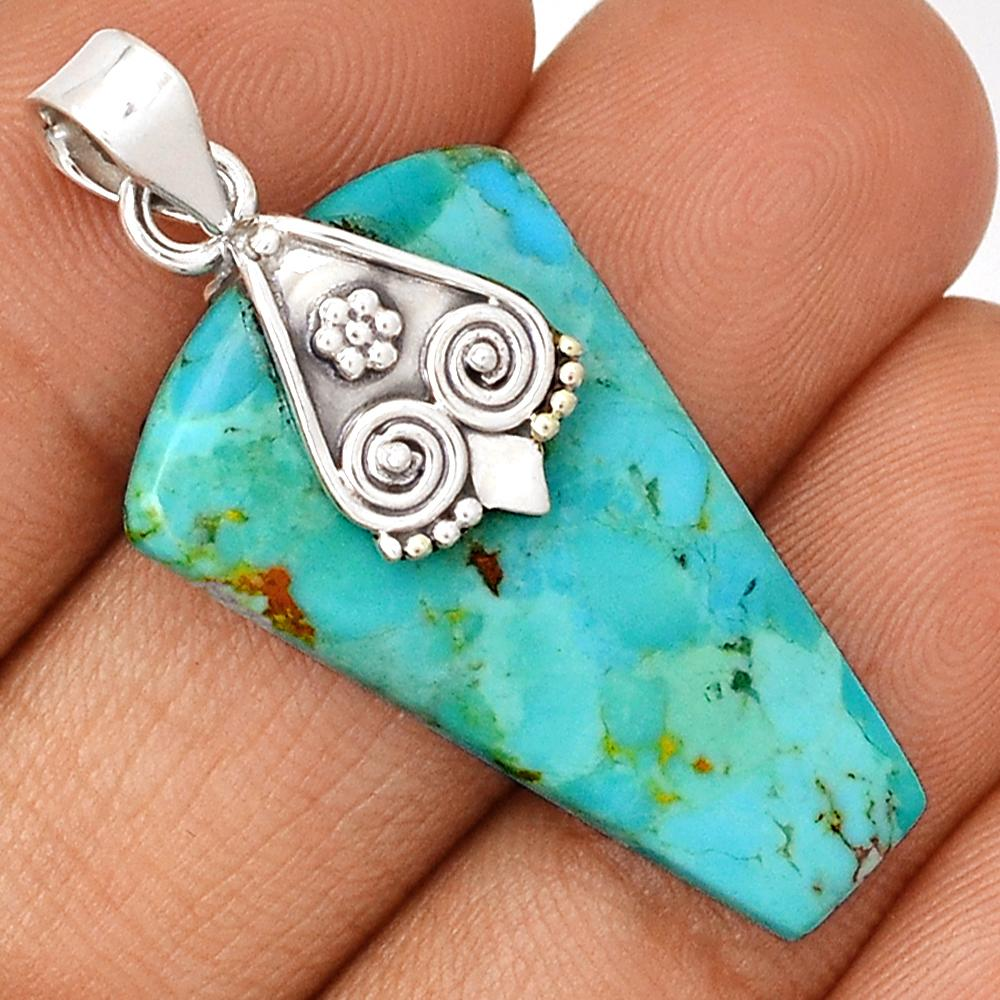 "Sleeping Beauty Turquoise 1.75"" Sterling Pendant"
