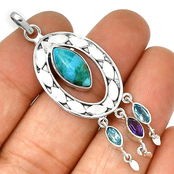 Sleeping Beauty Turquoise, Blue Topaz & Amethyst Sterling Pendant