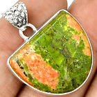 Unakite and Sterling Silver Pendant 1 5/8